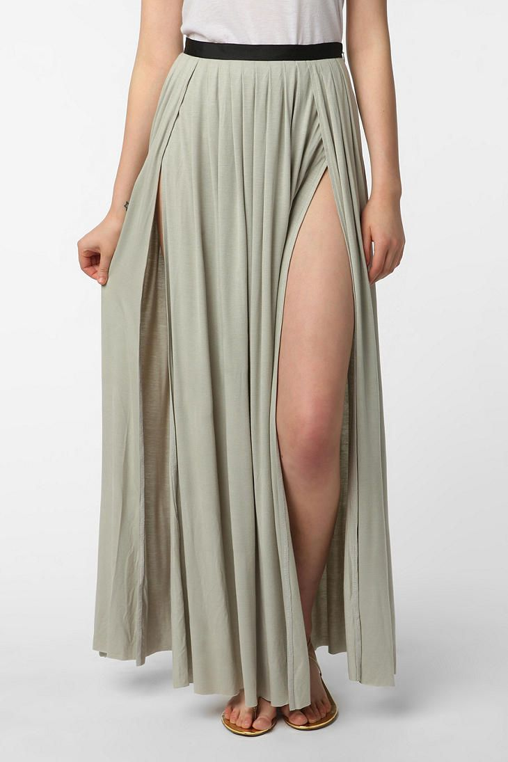 14e881d2b Ecote Double Slit Maxi Skirt #UrbanOutfitters* Sleek, cascading maxi skirt  from Ecote with double high slits * Soft and stretchy jersey construction;  ...