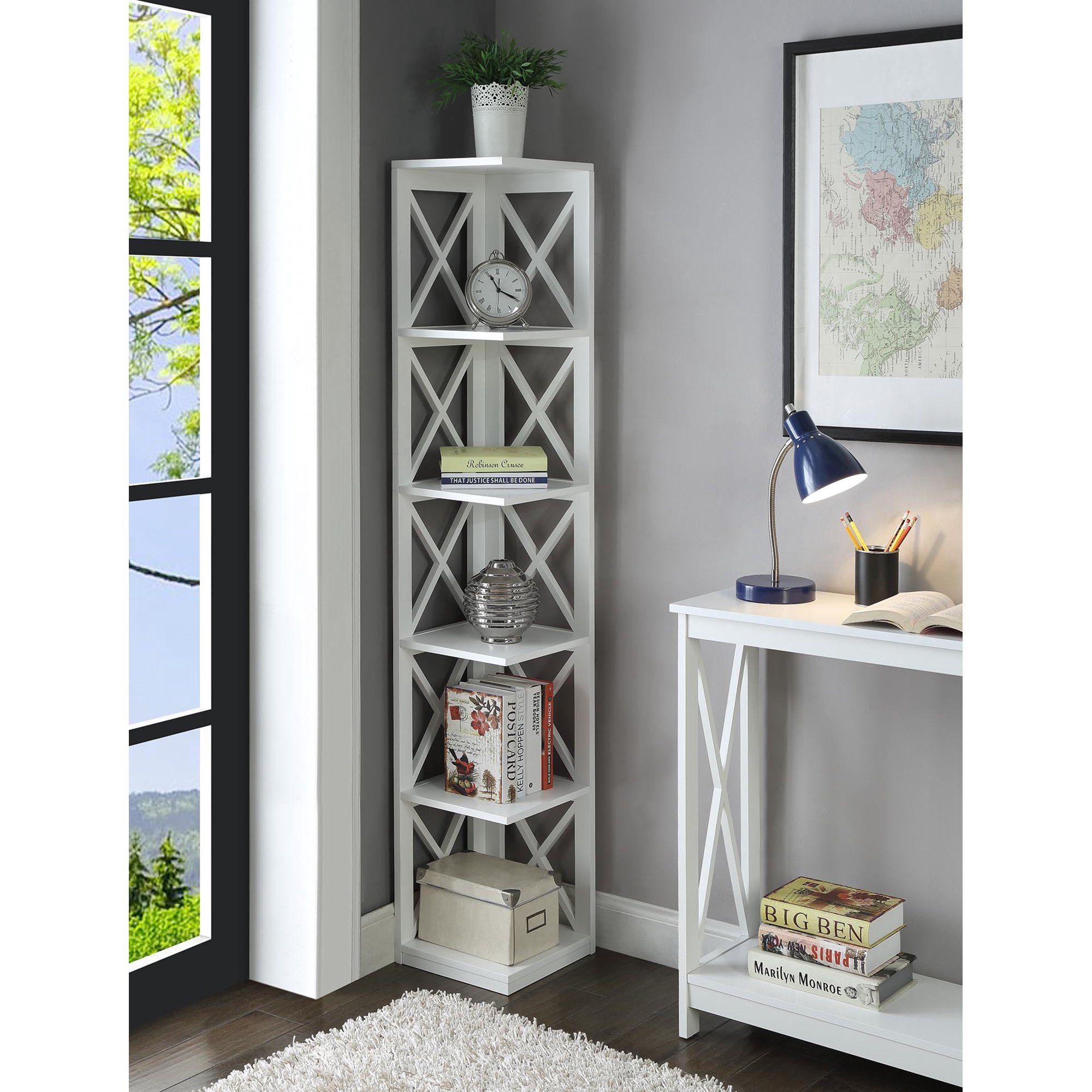 Convenience Concepts Oxford 5Tier Corner Bookcase, White