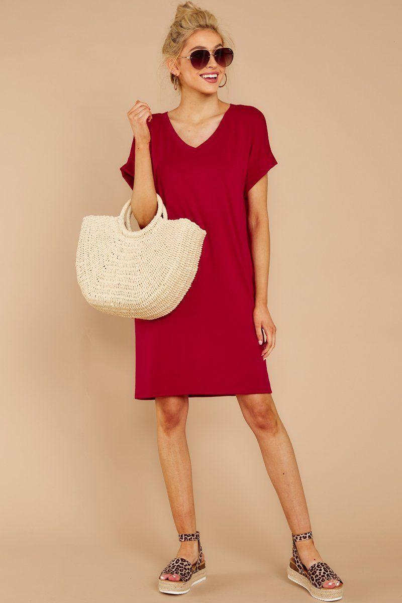 5d047e9850 Darling Red Short Sleeve Tee Dress - Short T Shirt Dress - Dress - $28 – Red  Dress Boutique