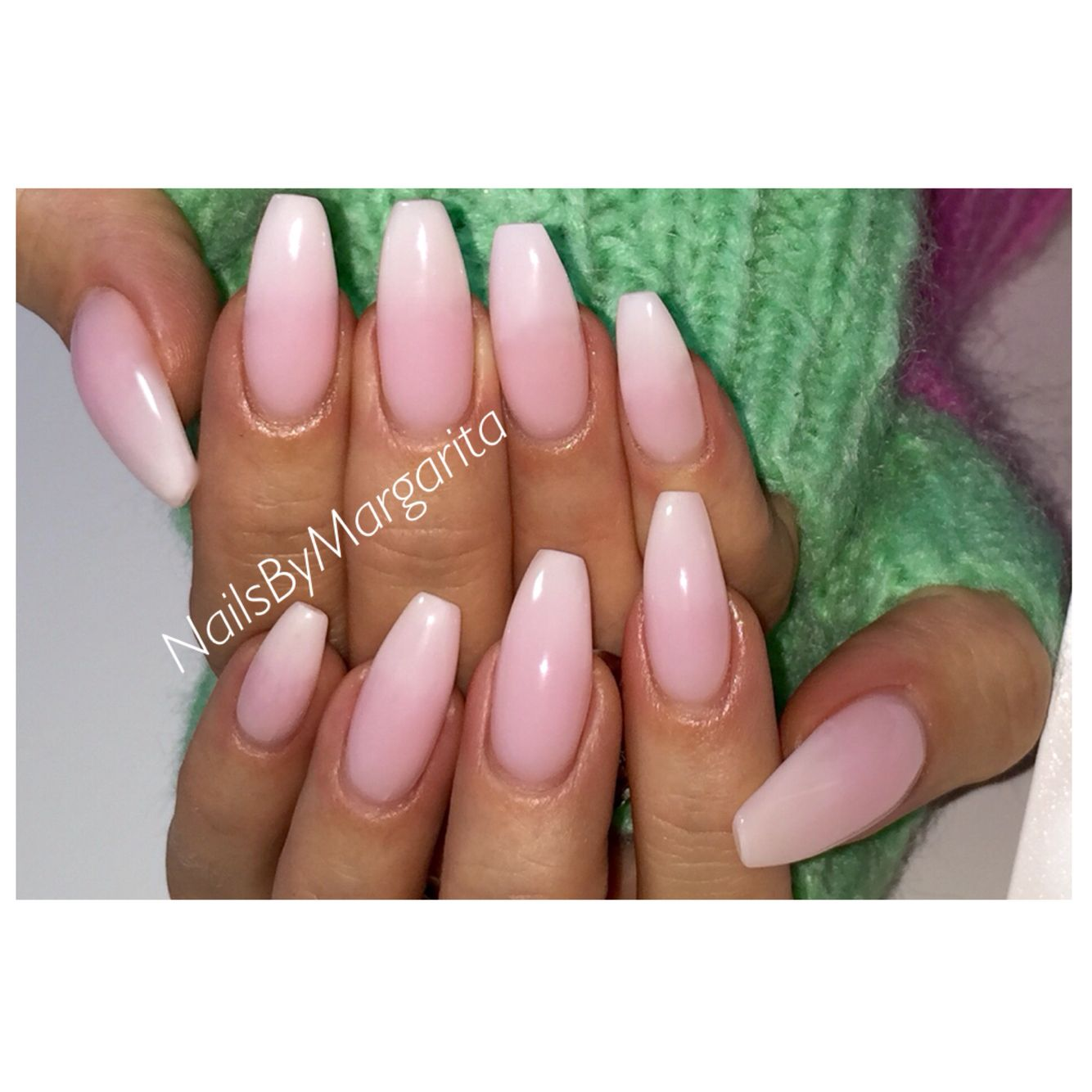 White Coffin/Ballerina Nails Gel Nail Design Winter 2015 ...