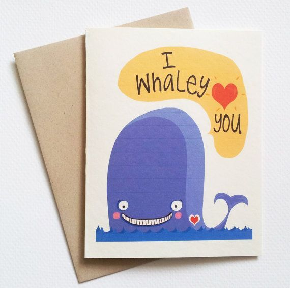Funny Valentines Day Card Blue Whale Card Cute