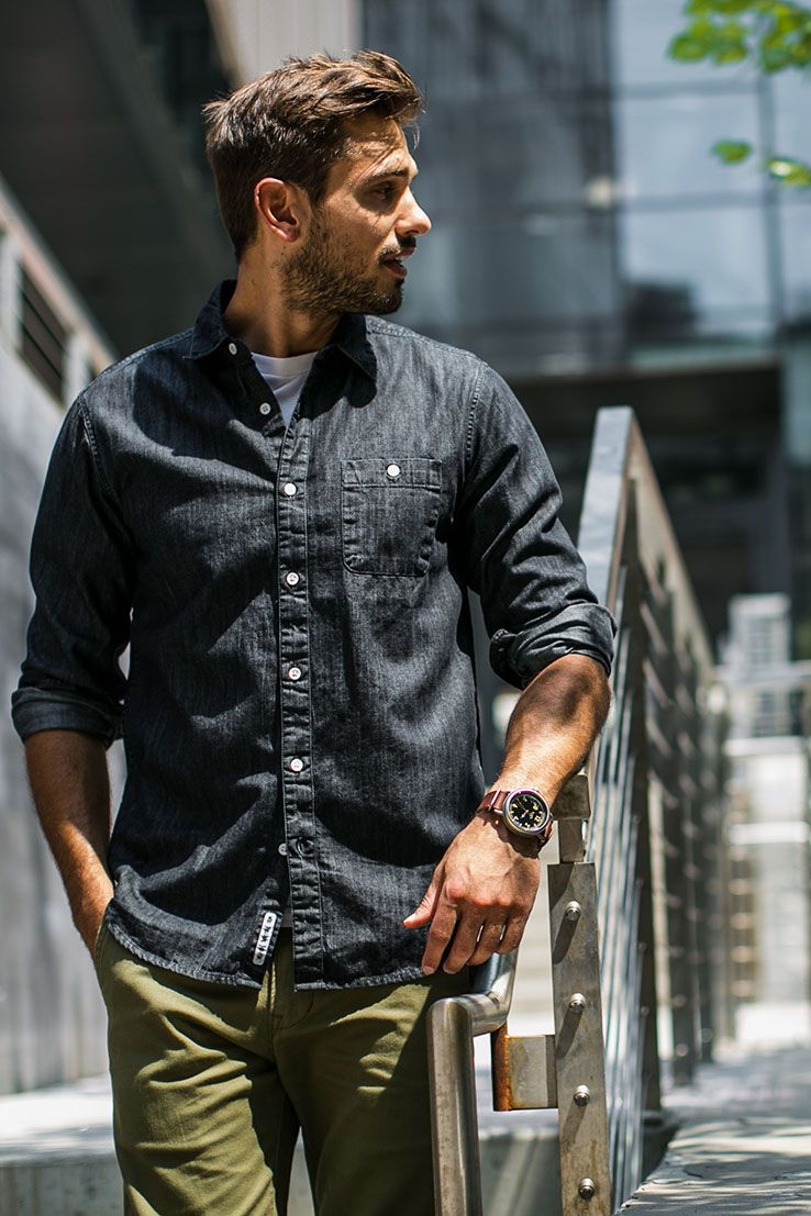 The Traditional Denim Shirt Gets A Fresh Twist With A Black Wash Stylish Mens Fashion Shirt Casual Style Mens Outfits [ 1107 x 738 Pixel ]