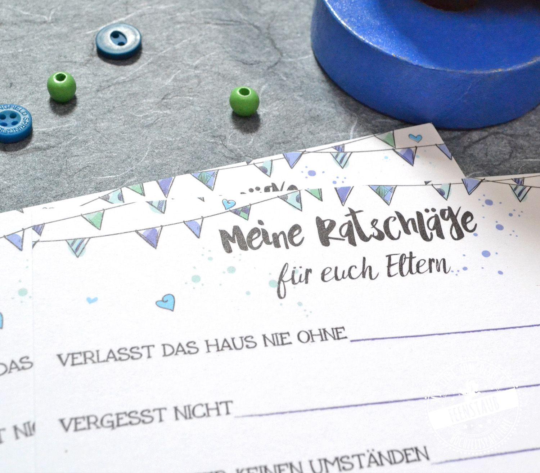 Meine Ratschläge Blaue Wimpel Gästebuch Taufe Geschenk