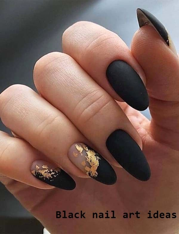 20 Simple Black Nail Art Design Ideas Nailarts Naildesigns In 2020 Solid Color Nails Gold Nails Pretty Acrylic Nails