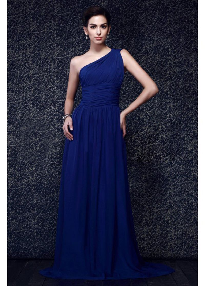 f8d599f7f4 Simple Design One Shoulder Formal Womens Clothing Chiffon Straight Royal  Blue Dresses Vestido De Festa Longo Long Evening Dress