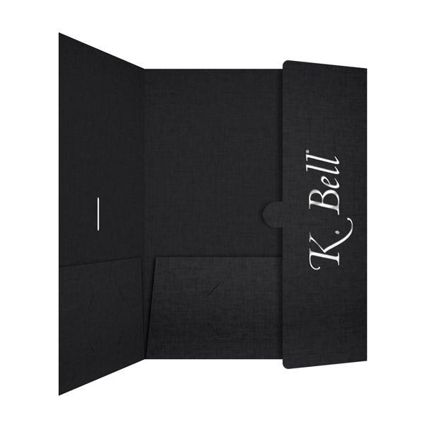 K Bell Foil Stamped Presentation Folder (Inside Panel View - resume presentation folder