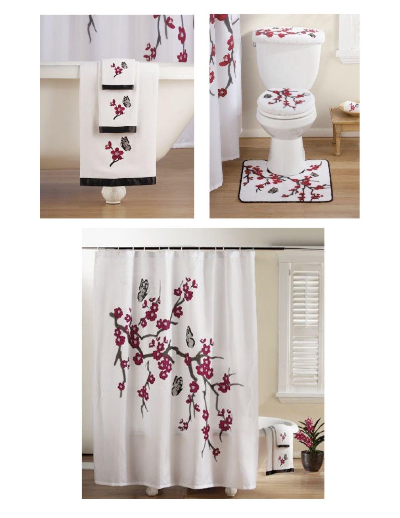 "asian cherry blossom"" bathroom set: bath towel set (towel, hand"