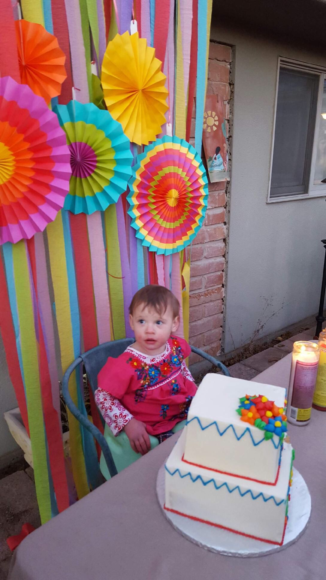 Fiesta party, colorful background, cute twoyearold