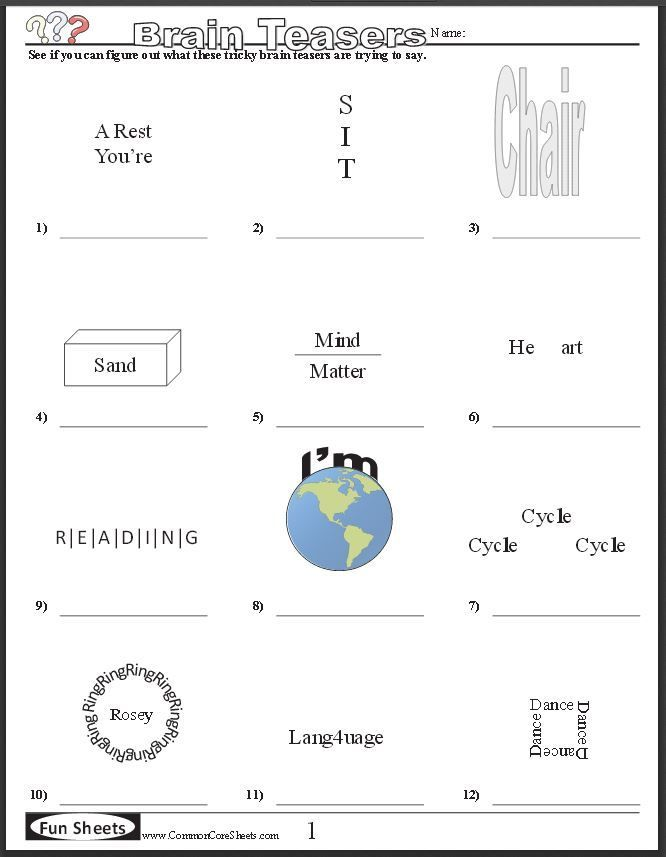 FREE BRAIN TEASER PRINTABLES~ Four free worksheets that will ...
