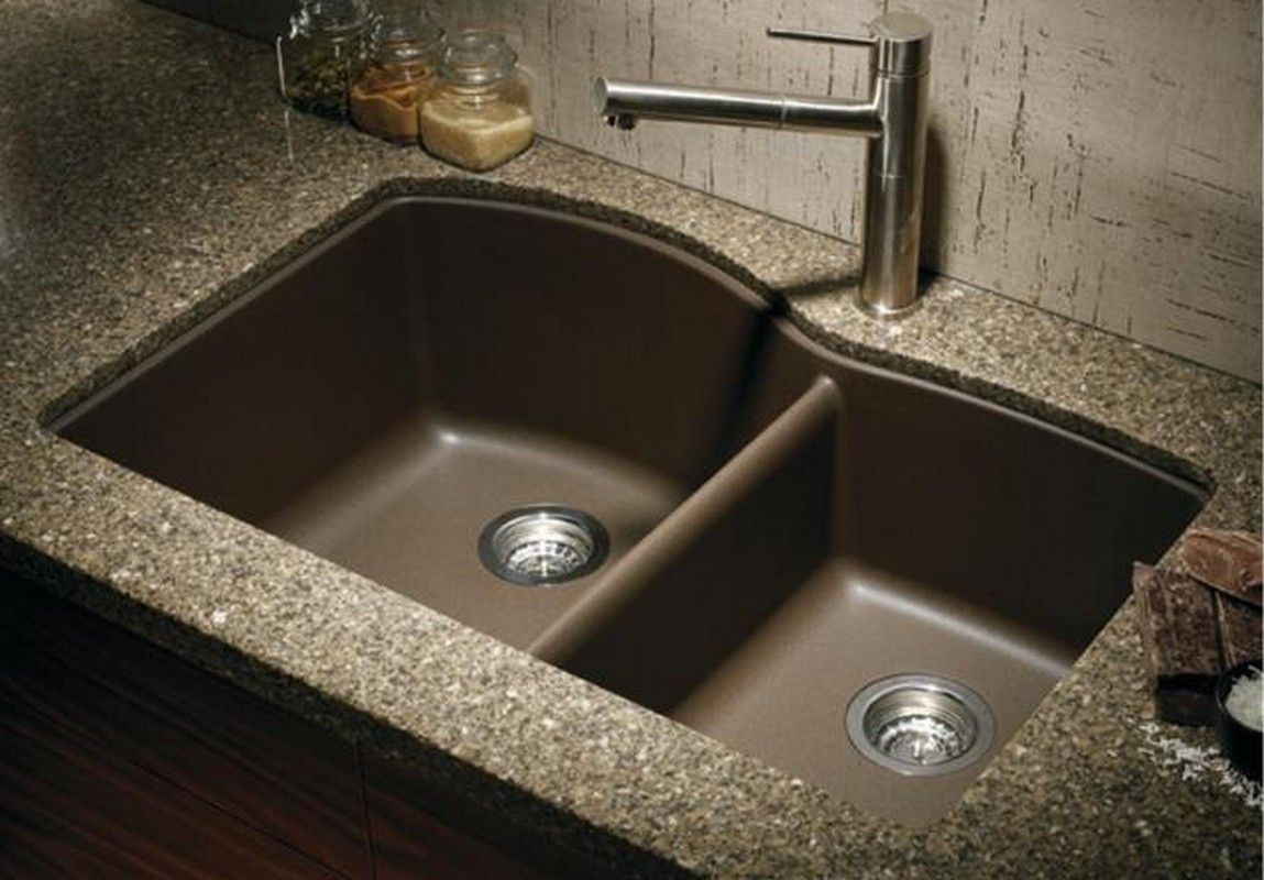Finish anthracite biscotti biscuit cafe brown metallic gray white material granite composite basin split 60 40 sink shape specialty num