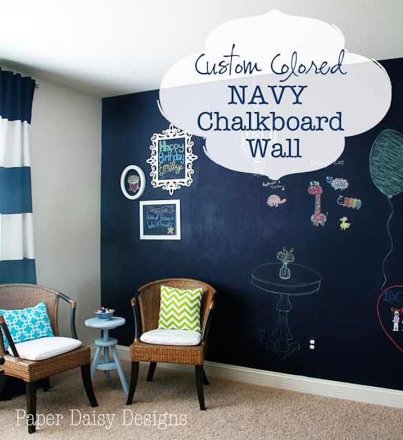 Paper Daisy Designs True Blue Navy Chalkboard Wall Chalkboard Paint Wall Chalkboard Wall Bedroom Blackboard Wall