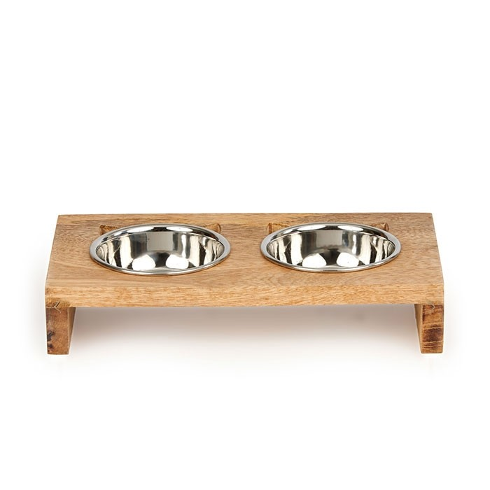 Harmony Cat Ear Wooden Double Diner Stainless Steel Cat Bowl Cat Bowls Cat Ears Wooden Cat