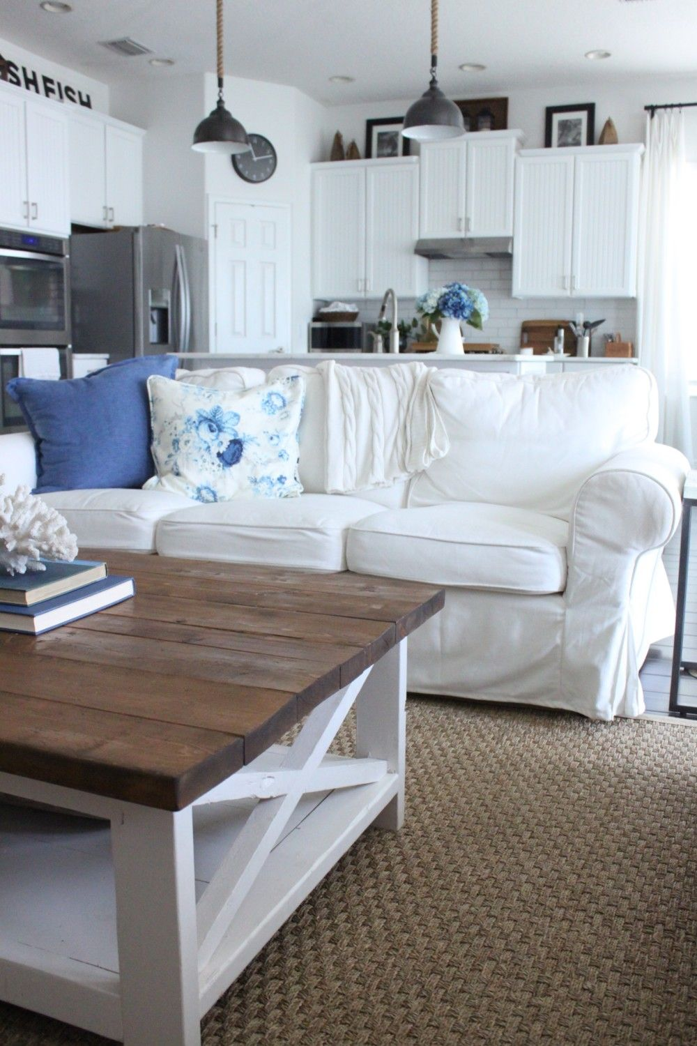 blue and white family rooms