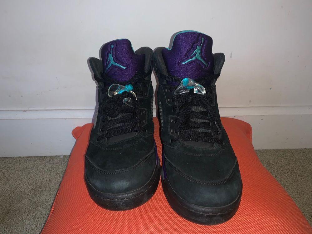 official photos 9fcdc 8b1af Nike Air Jordan 5 V Retro Black Grape Size 10.5 Aqua 136027-007 Half Retail