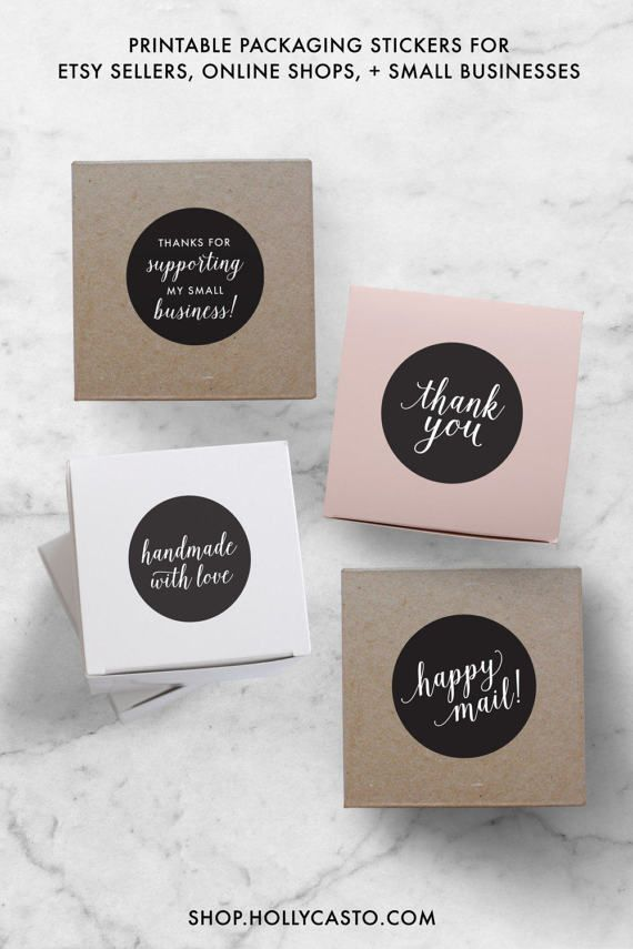 Instant business stickers set of 4 pdf by hollycastodesign on etsy
