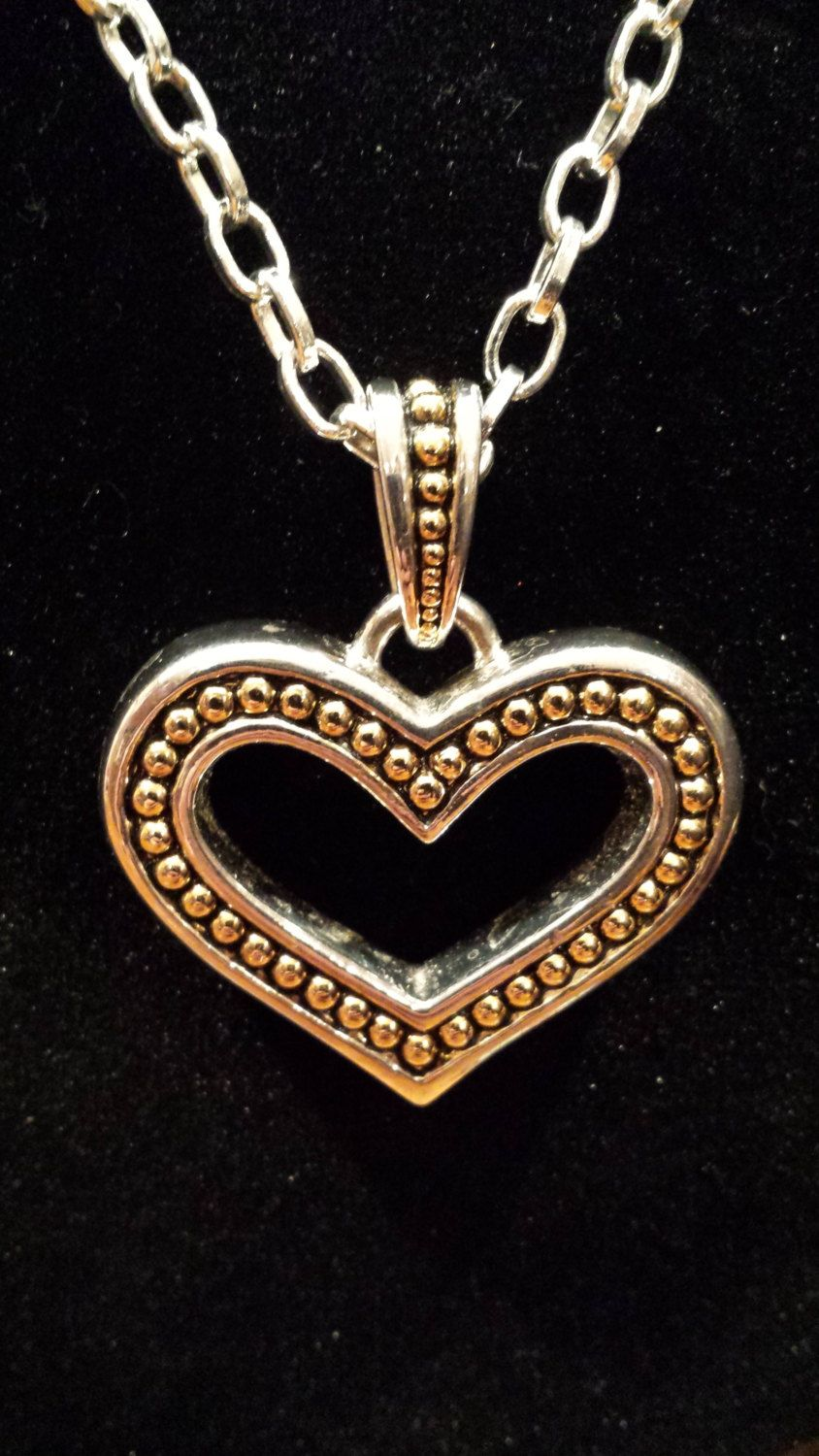 """36"""" Necklace with Large Heart Pendant by 3LittleWitches on Etsy"""
