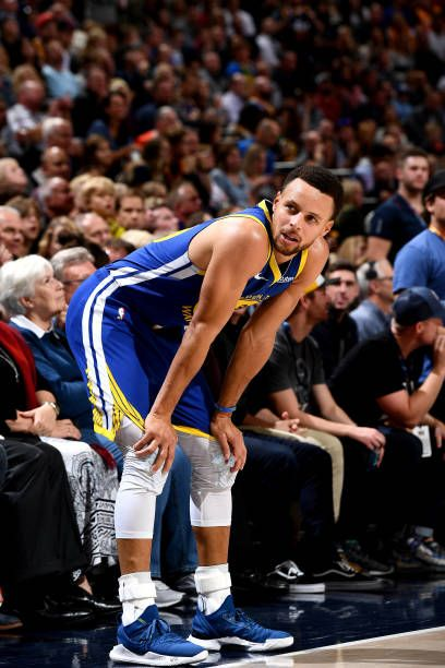 Stephen Curry of the Golden State Warriors looks on against the Utah…