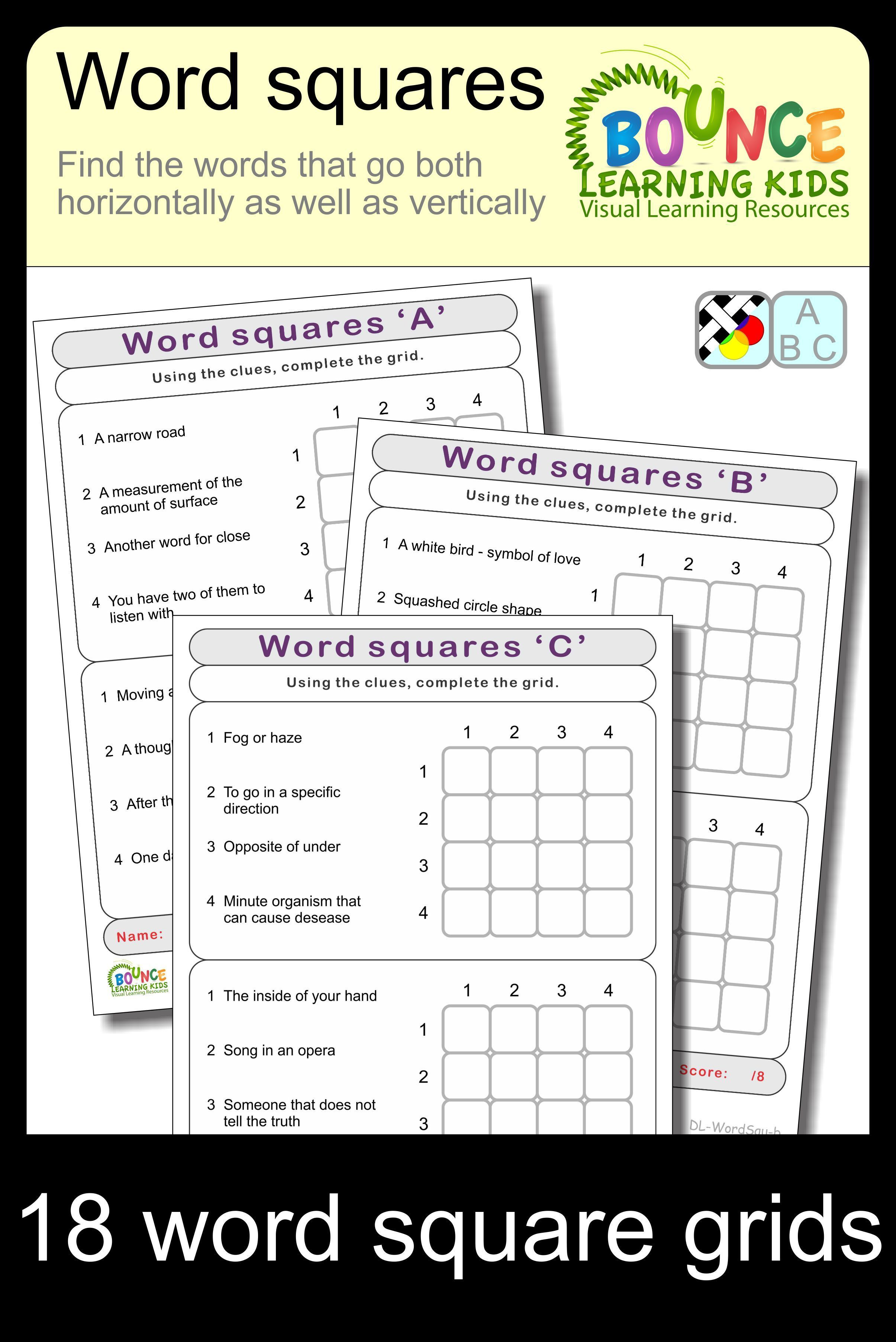 Word Squares 10 Distance Learning Worksheets For Literacy