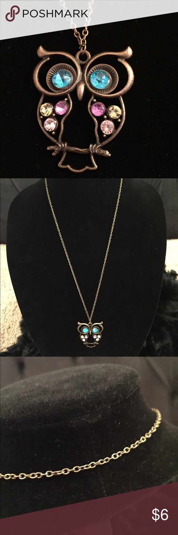 """Claire's Old Gold Owl Pendant Necklace Claire's Old Gold Owl Pendant Necklace! Simple but fun owl pendant necklace in old gold with multicolored gems. Necklace is 16"""" with no closure/slip on. Buy more and save more with my jewelry bundling deals! 😊💎💖 Claire's Jewelry Necklaces"""