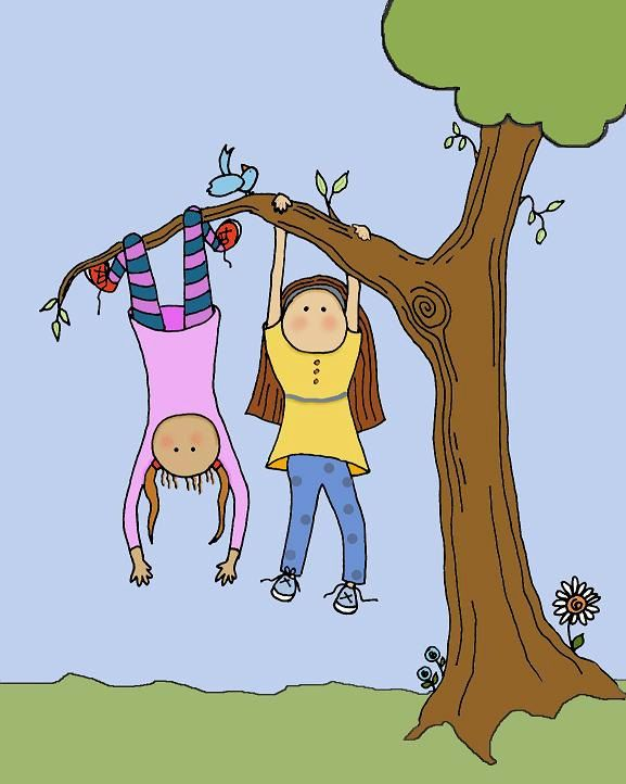 Hang Upside Down Climbing Trees Cartoon Girl Drawing Climbing Art Kids Prints Happy children playing and having fun at the playground in the middle of the park. climbing trees cartoon girl drawing