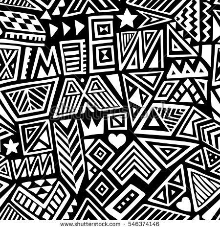 Vector Seamless Black And White Pattern With Abstract Lines
