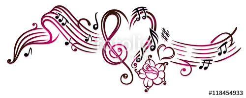 notenblatt mit musiknoten notenschlüssel und rose pink