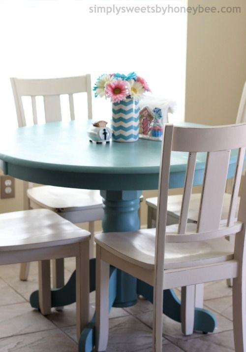 Transforming a table chairs with annie sloan chalk paint for Painted kitchen chairs