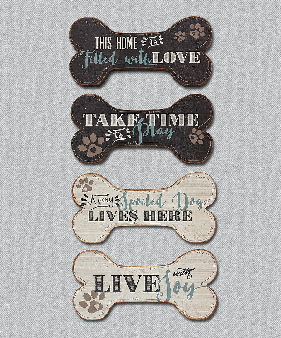 Dog Bone Wood Wall Sign Set Of Four By Young S Zulilyfinds