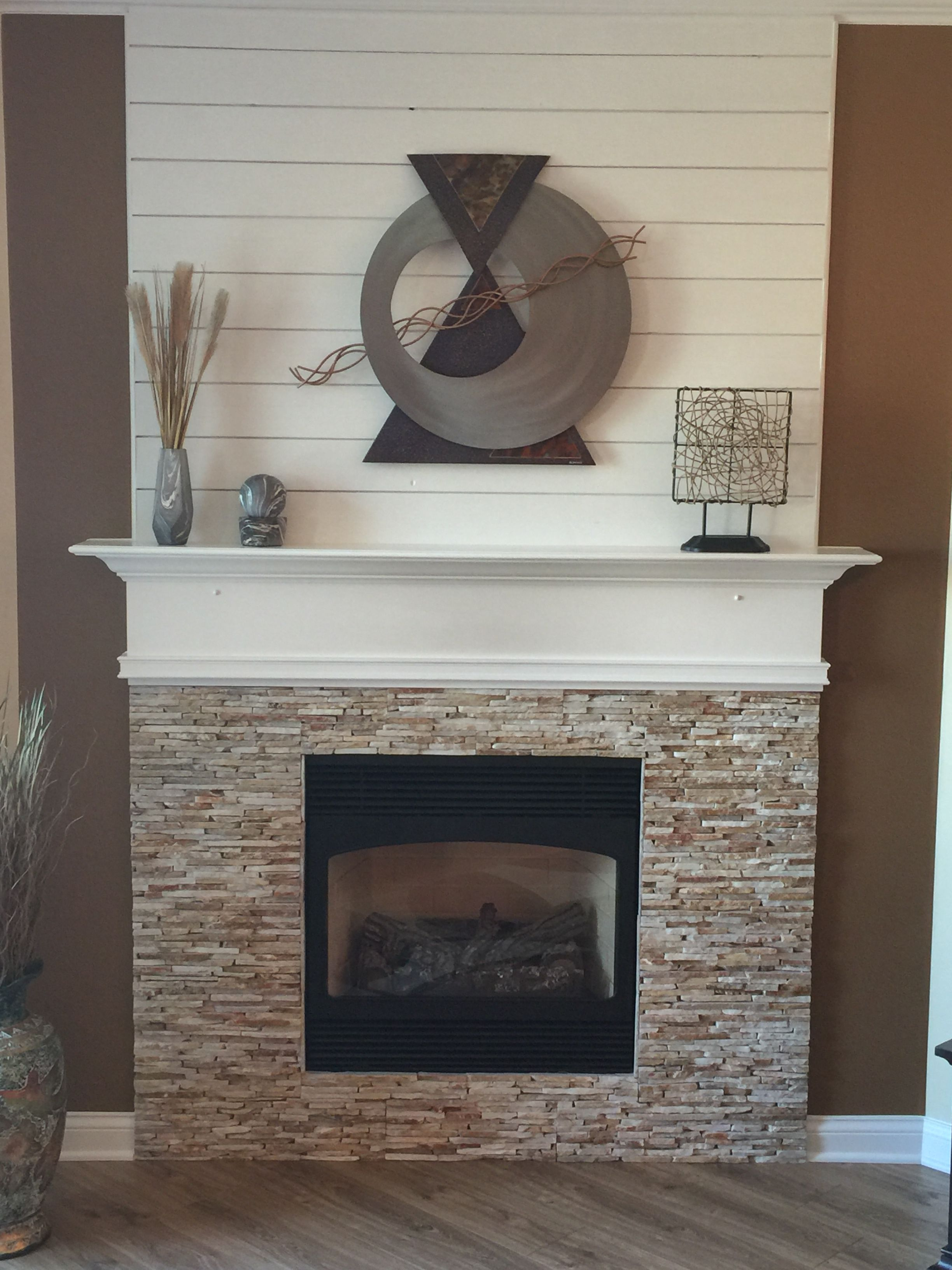 Updated Fireplace With Ledger Rock Floor And Decor Shiplap Wall Home Depot Wall Art C Jere New Aquagu Ship Lap Walls Fireplace Remodel Fireplace Seating