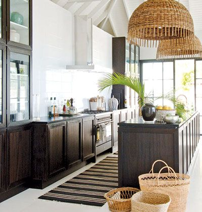 Coastal Living: Woven Pendant Island Lights, Espresso Stained Kitchen  Cabinets And Island, Baskets, .