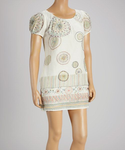 Off-White Pinwheel Silk-Blend Shift Dress by Aryeh #zulily #zulilyfinds