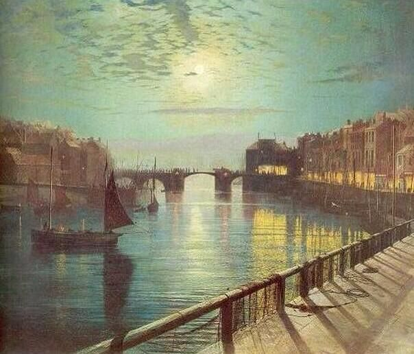 """""""Whitby Harbour by moonlight"""" - 1867. oil on canvas by #JohnAtkinsonGrimshaw"""