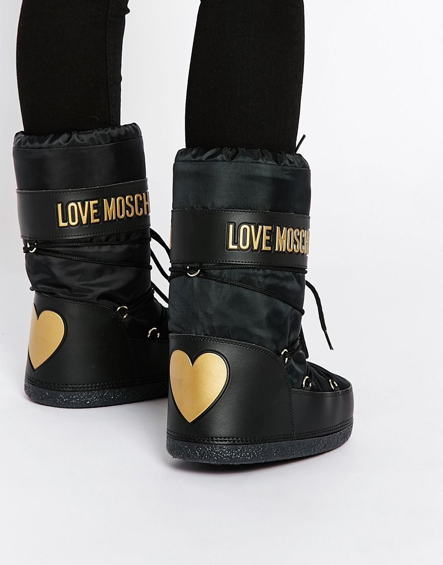 Details about women luxury diamond fashion snow boots rabbit fur boots - Image 1 Of Love Moschino Black Snow Boots
