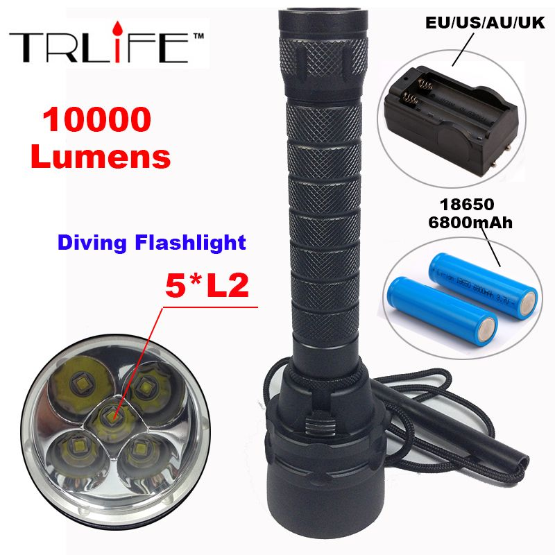 10000 Lumens Stepless Dimming Torch 5 X L2 Diving Led Flashlight 200m Underwater Waterproof Torch Tactical Flashlight Lantern Lampe Led Led Lampe De Poche