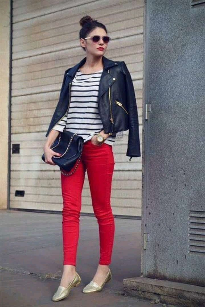 Pin By Pi Vida On Fashion Red Jeans Outfit Red Pants Outfit Red Jeans