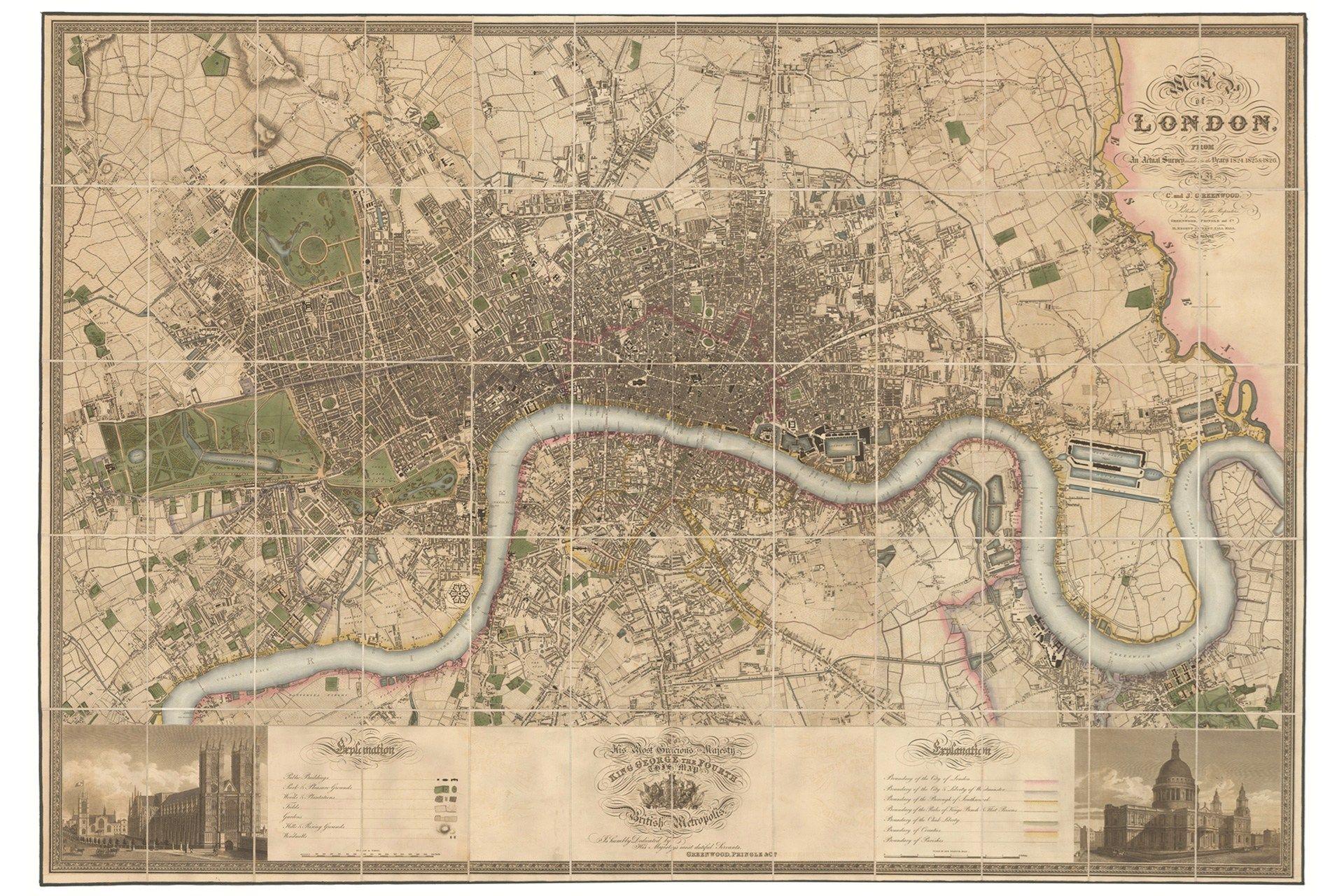 Greenwoodu0027s Map of London 1827 Greenwoodu0027s Map