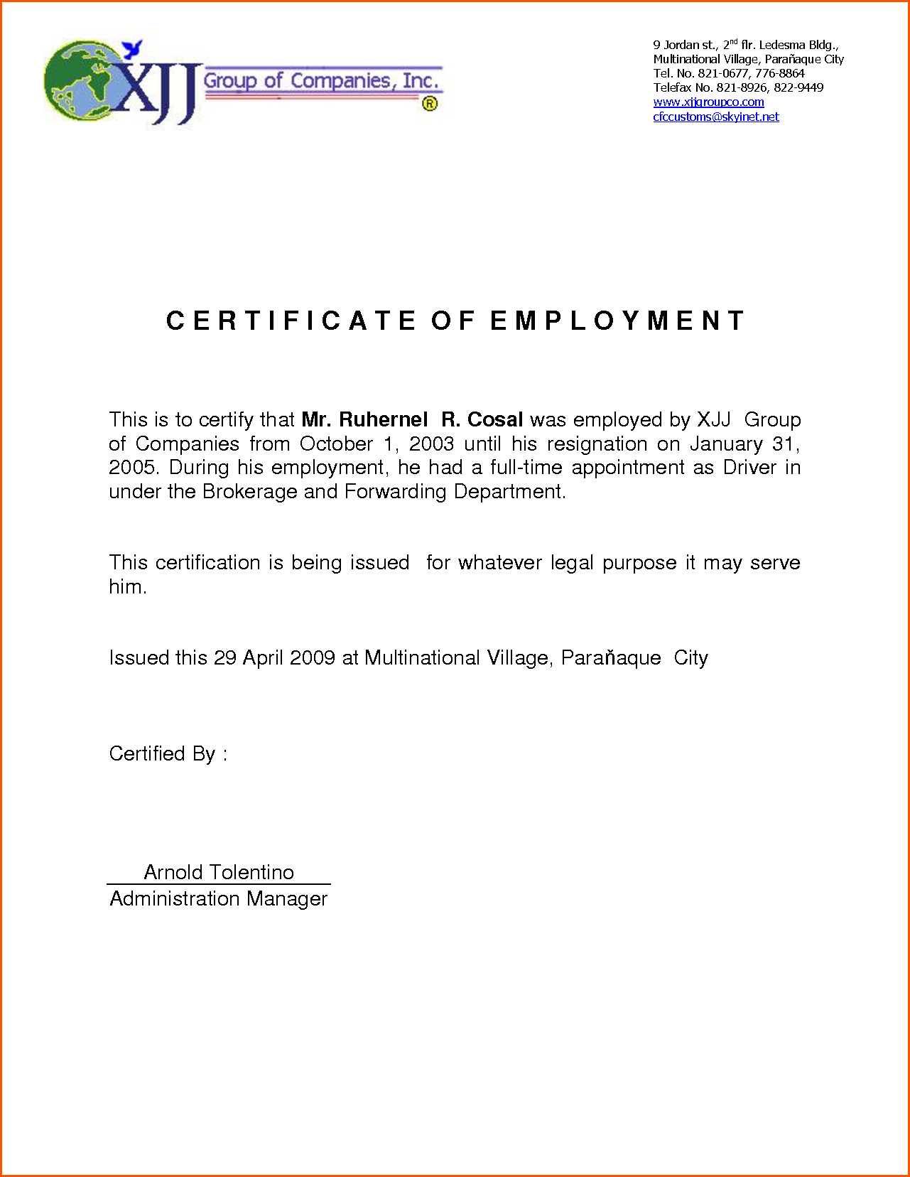 Sample employment certification northurthwall yelopaper Image collections