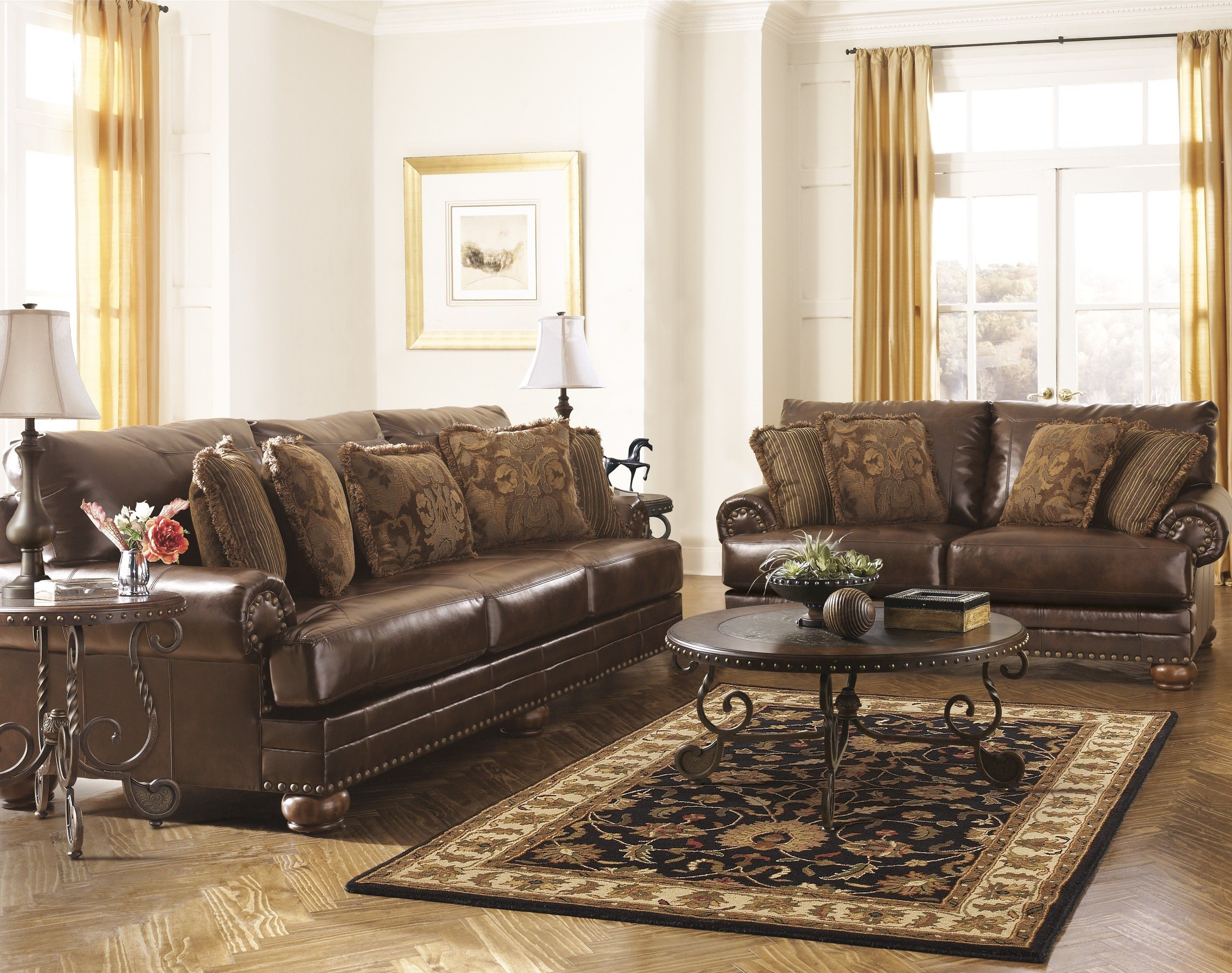 Ashley Brown Leather Durablend Antique 2pc Sofa Packageashley Inside Ashley Leather Living Leather Sofa And Loveseat Living Room Sets Furniture Couch Furniture
