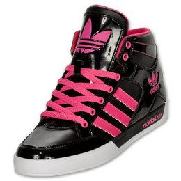 Hot Pink Adidas Shoes | ADIDAS Hardcourt Hi Women's Casual Shoes, Black/Pink  G59856