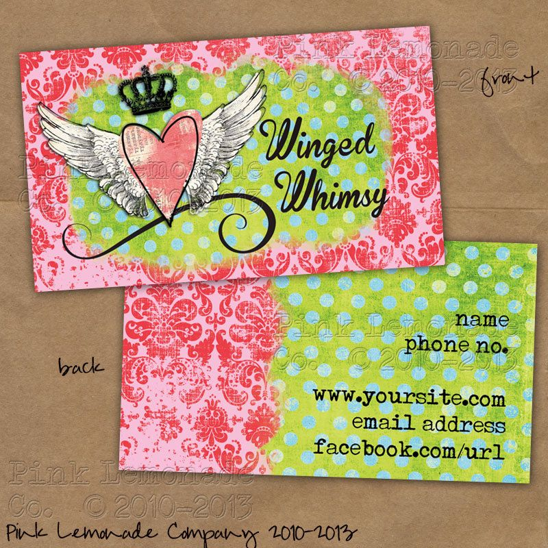 Winged whimsy design business card design plus 500 cards front and winged whimsy design business card design plus 500 cards front and back full color pink lime green dots damask via etsy reheart Gallery