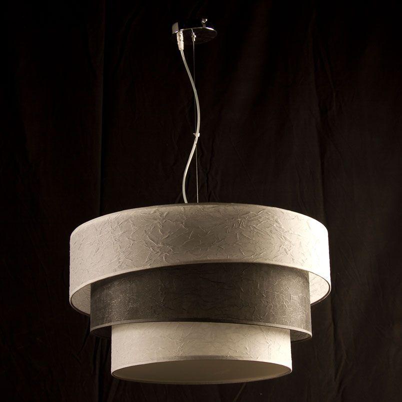 lampara colgante de techo damian pantalla tela tricolor - Lamparas De Techo Colgantes