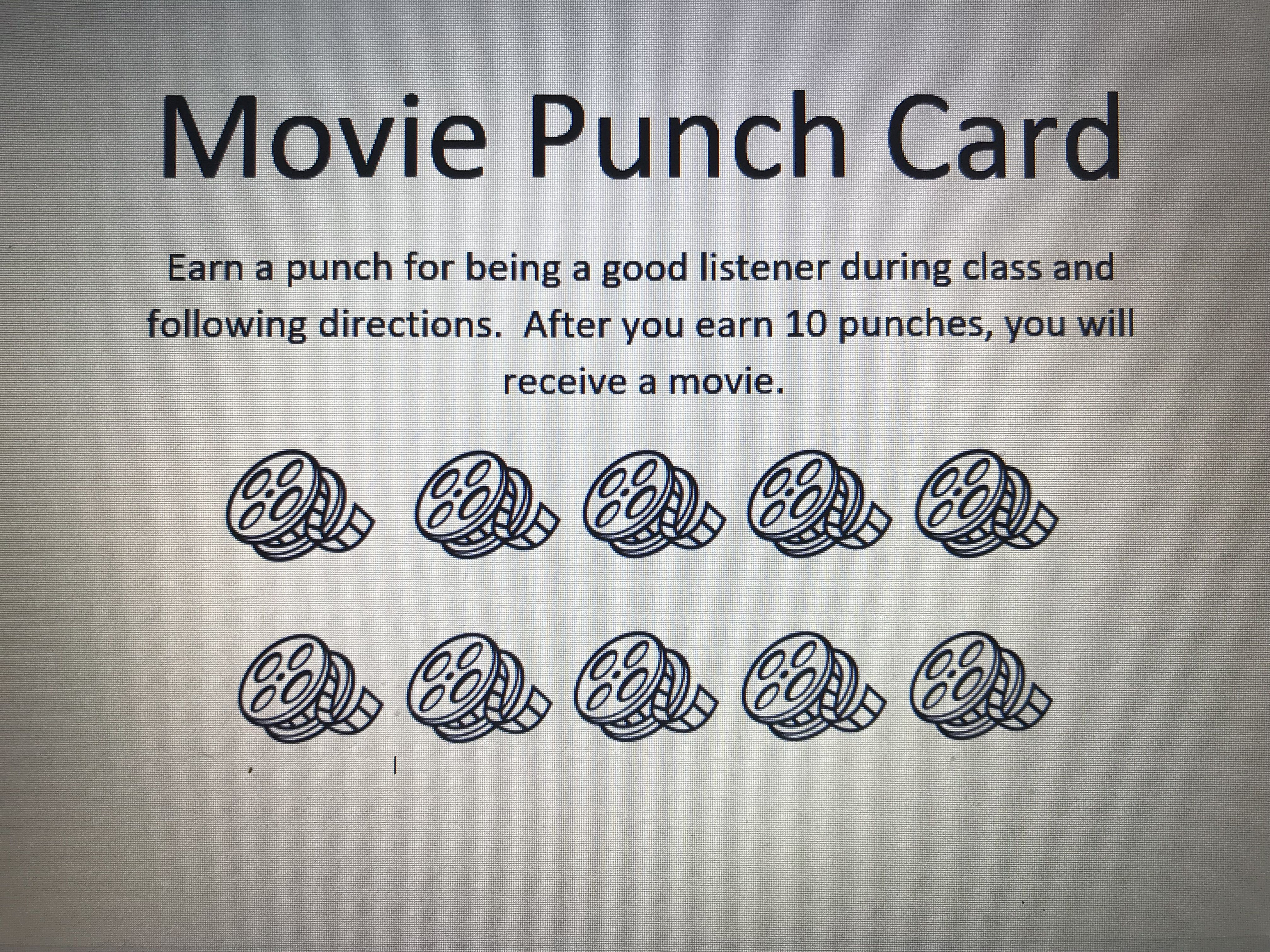 Movie Punch Card After 10 Punches On The Movie Reels The