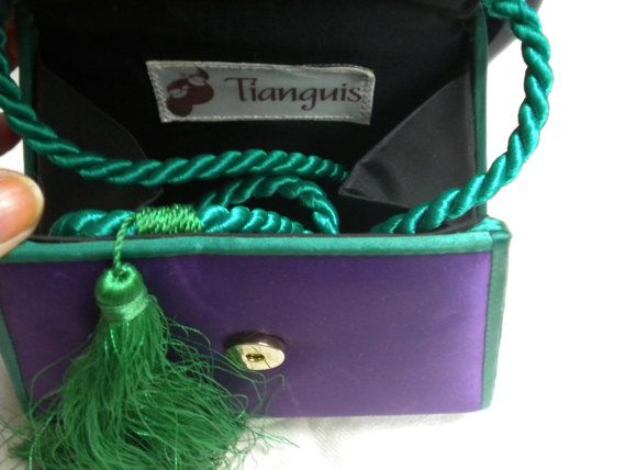 Vintage PURPLE EVENING BAG silk, small with green piping and shoulder chord. Tianguis.