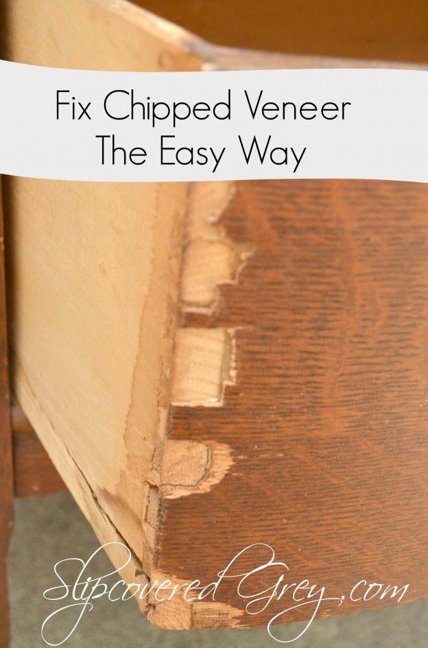 Fix Chipped Veneer The Easy Way Laminate Furniture Wood Repair Furniture Fix
