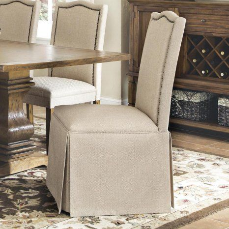 Coaster Parson Chair With Skirt Beige Emporium Com