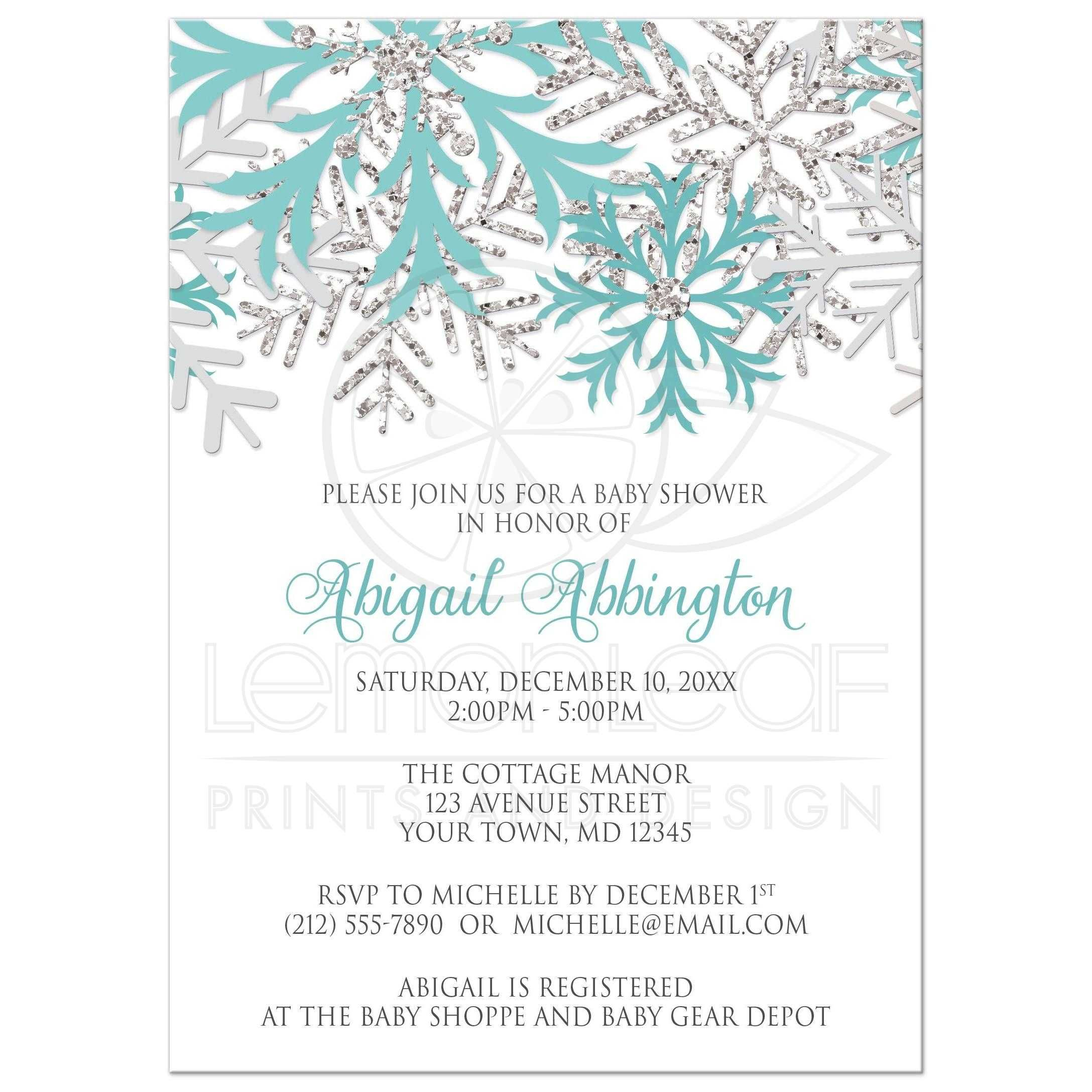 Baby Shower Invitations Winter Snowflake Teal Silver