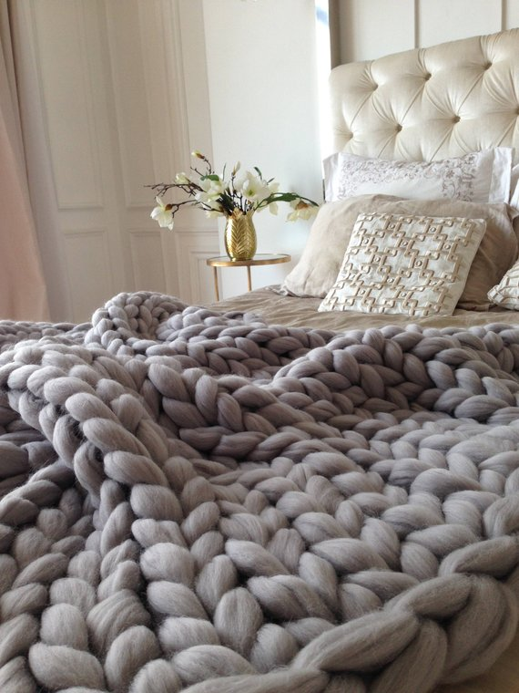 Merino wool Blanket Throw Bed room throw cozy sofa blanket Wrapping blanket Knitted throw Off white wool blanket