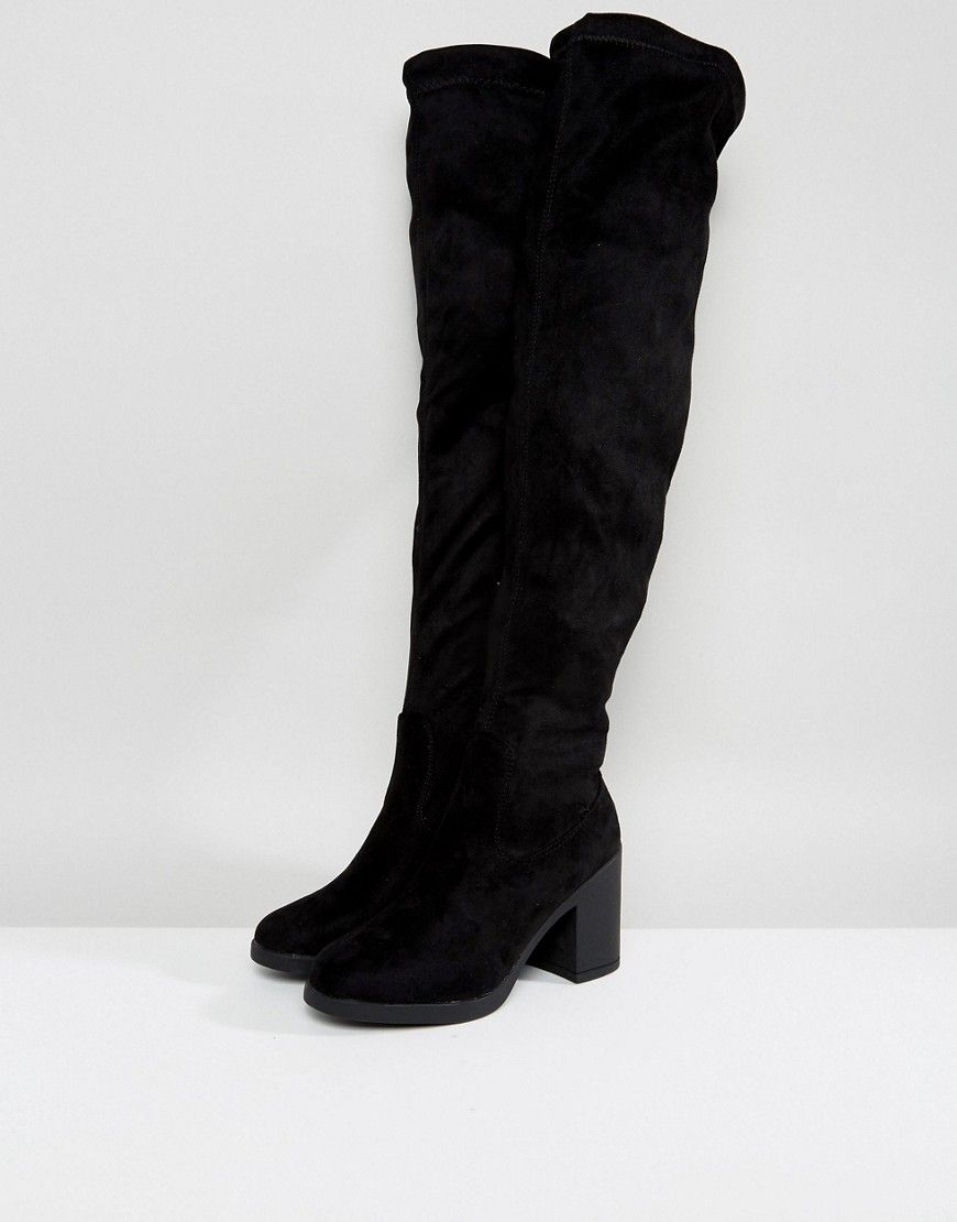 32008ed4400 Truffle Collection Chunky Heel Stretch Over Knee Boots - Black ...
