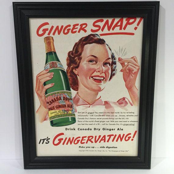 1939 VINTAGE SODA AD - 1930s Framed Canada Dry Ginger Ale Ad- Retro Soda Advertisement - Vintage Man Cave Decor - Bar Decor -  (1939-14)