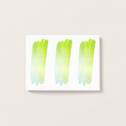 Blue Green Paint List Brush Watercolor Swatches Post-it Notes